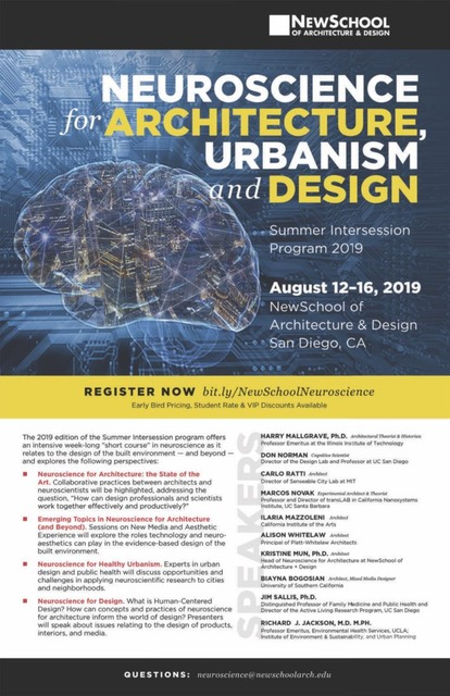 "Programme d'inscription à la cession ""Neurosciences for Architecture, Urbanisme and Design""."