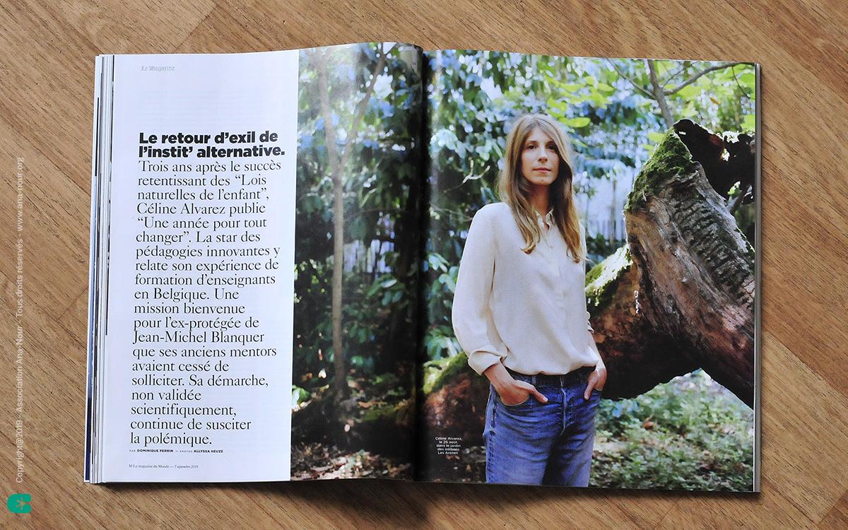 Article sur Céline Alvarez dans le magazine Le Monde, avec l'action de l'association Ana-Nour citée.